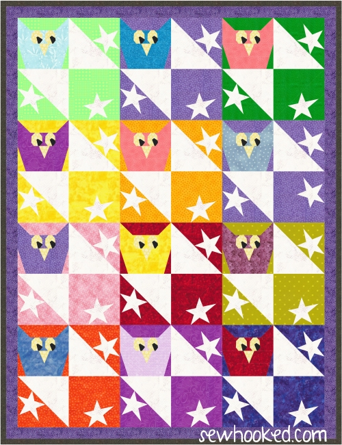 owls and stars quilt colorful.JPG