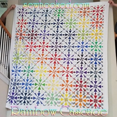 Rainbow Cascade quilt top